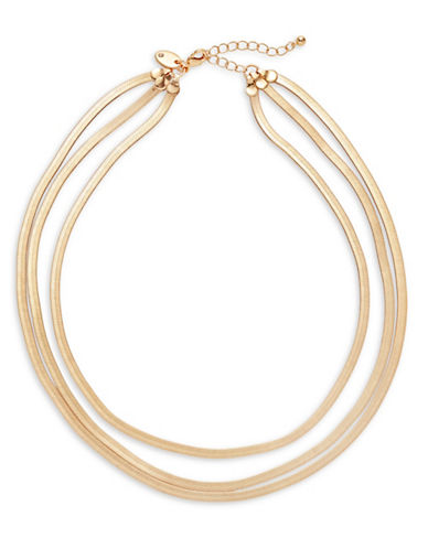 Expression Three-Row Flat Snake Chain Necklace-GOLD-One Size