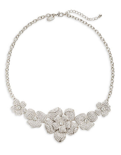 Expression Flower Rhinestone Necklace-SILVER-One Size
