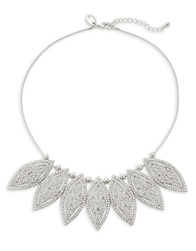 Expression Pavé Crystal Pointed Ellipse Statement Necklace-SILVER-One Size
