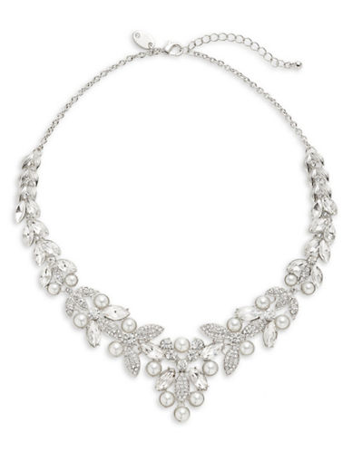 Expression Faux Pearl and Stone Necklace-WHITE-One Size