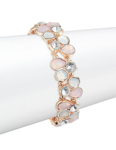 Expression Multi Size Faceted Crystal Stretch Bracelet-PINK-One Size