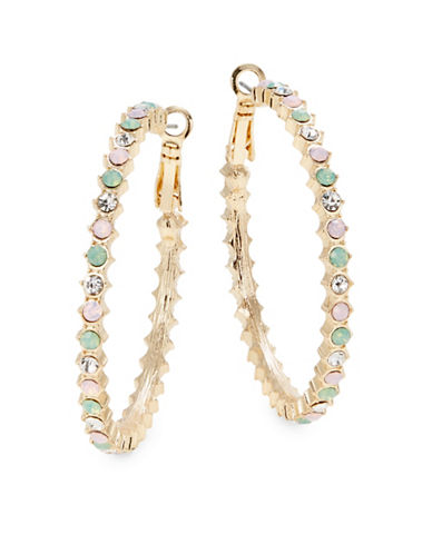 Expression Goldtone Multicolour Glass Hoop Earrings-ASSORTED-One Size