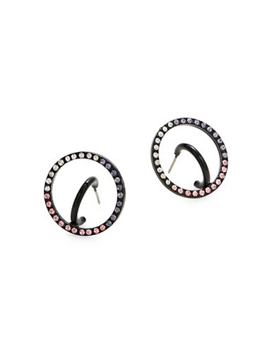 Design Lab Lord & Taylor Circle Pave Crystal Earrings-MULTI-One Size