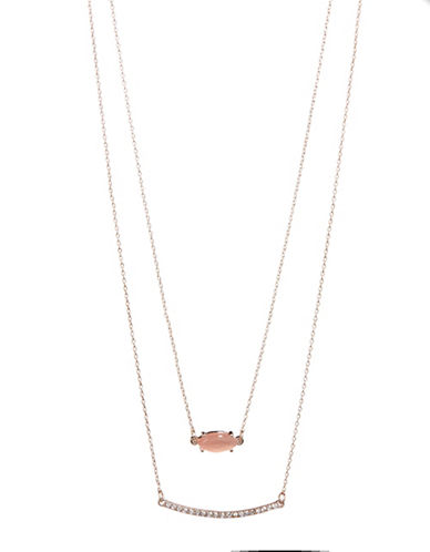 Design Lab Lord & Taylor Pave Stone and Bar Necklace-PINK-One Size