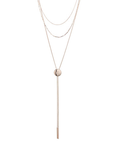 Design Lab Lord & Taylor Three-Row Circle Pendant Necklace-ROSE GOLD-One Size