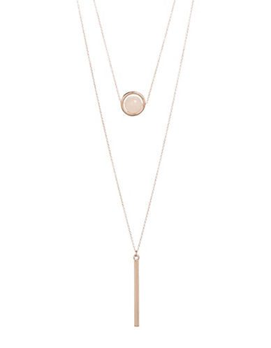 Design Lab Lord & Taylor Two Row Orb and Bar Necklace-PASTEL-One Size