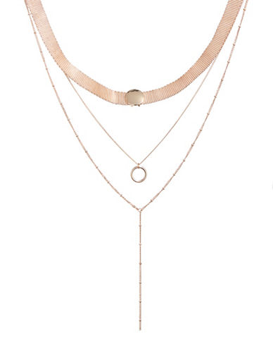 Design Lab Lord & Taylor Layered Chain Mesh Choker-ROSE GOLD-One Size