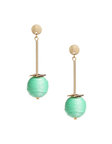 Expression Thread Orb Drop Earrings-GREEN-One Size