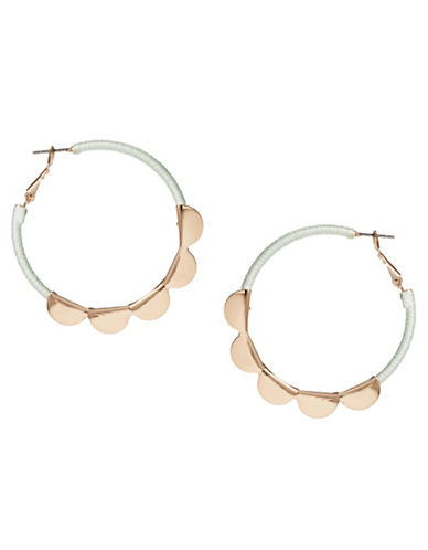 Expression Threaded Scallop Hoop Earrings-GREEN-One Size