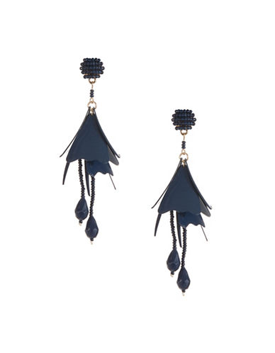 Expression Droopy Flower Drop Earrings-BLUE-One Size