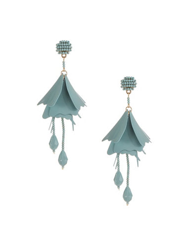 Expression Droopy Flower Drop Earrings-GREEN-One Size
