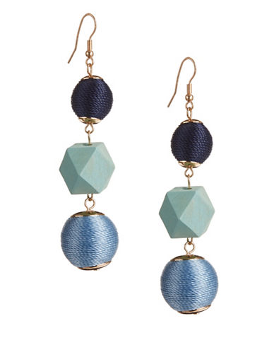 Expression Thread Orbital Drop Earrings-BLUE-One Size