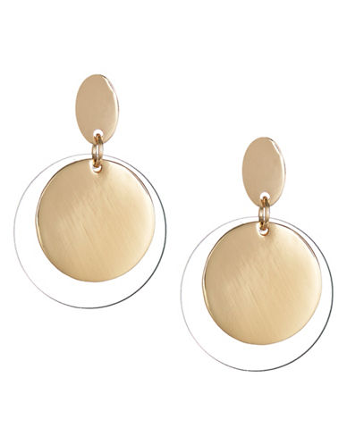 Expression Double Disc Drop Earrings-CLEAR-One Size