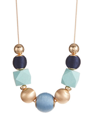 Expression Wrapped Thread Ball Necklace-BLUE-One Size