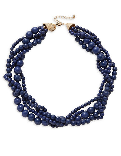 Expression Braided Bead Collar Necklace-BLUE-One Size