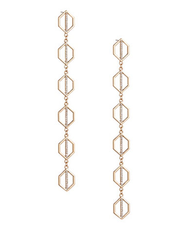 Expression Goldtone and Crystal Geometric Drop Earrings-GOLD-One Size