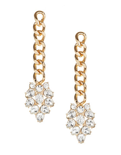 Design Lab Lord & Taylor Goldtone Chain Rhinestone Drop Earrings-GOLD-One Size