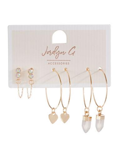 Jordyn G 3-Pack Goldtone Rhinestone Stud & Charm Hoop Earrings-GOLD-One Size
