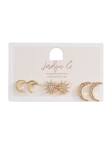 Jordyn G 3-Pack Celestial Stud Earrings-GOLD-One Size