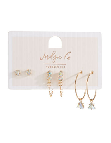 Jordyn G 3-Pack Goldtone Rhinestone Stud & Hoop Earrings-GOLD-One Size