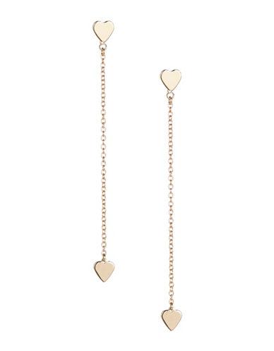 Jordyn G Heart On Chain Drop Earrings-GOLD-One Size