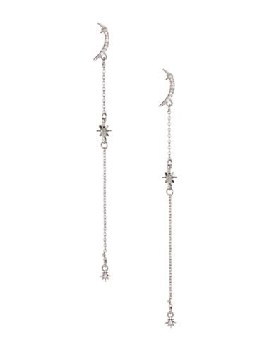 Jordyn G Moon And Star Chain Post Back Earrings-SILVER-One Size