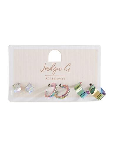 Jordyn G 3-Pack Oil Spill Stud and Hoop Earrings-ASSORTED-One Size