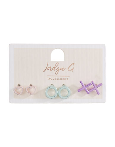 Jordyn G 3-Pack Metallic Heart XO Stud Earrings-ASSORTED-One Size