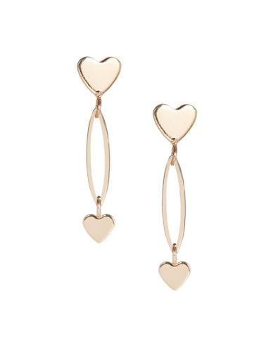 Jordyn G Goldtone Small Heart Drop Earrings-GOLD-One Size