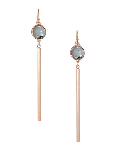 Jordyn G Composite Stone Goldtone Bar Drop Earrings-GREY-One Size
