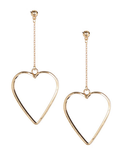 Jordyn G Goldtone Heart Drop Earrings-GOLD-One Size
