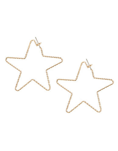 Jordyn G Textured Star Hoop Earrings-GOLD-One Size