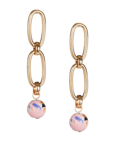 Jordyn G Link Chain Stone Ball Drop Earrings-PINK-One Size