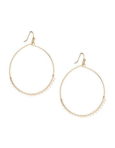 Jordyn G Goldtone Wire-Wrapped Beaded Hoop Earrings-GOLD-One Size