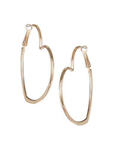 Jordyn G Goldtone Closed Heart Hoop Earrings-GOLD-One Size