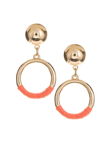 Jordyn G Goldtone Circle Wrapped Drop Earrings-BRIGHT PINK-One Size