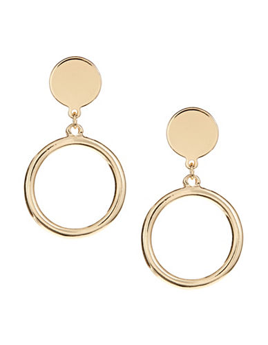 Jordyn G Goldtone Open Circle Disc Drop Earrings-GOLD-One Size