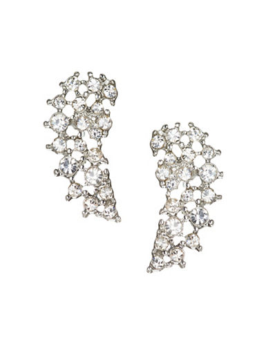 Jordyn G Angel Wing Silvertone Rhinestone Cluster Crawler Earrings-SILVER-One Size