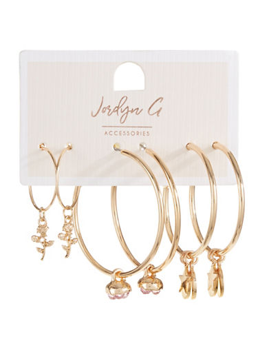 Jordyn G 3-Pack Rose & Star Charm Hoop Earrings-GOLD-One Size