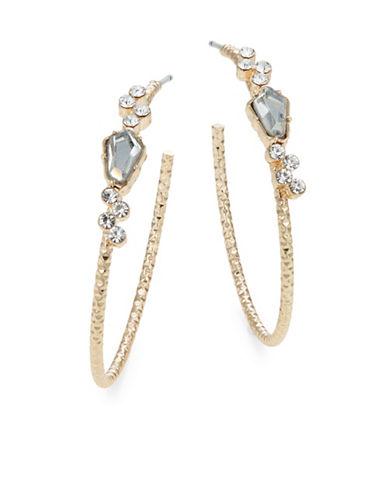 Jordyn G Goldtone Rhinestone Textured Hoop Earrings-GOLD-One Size