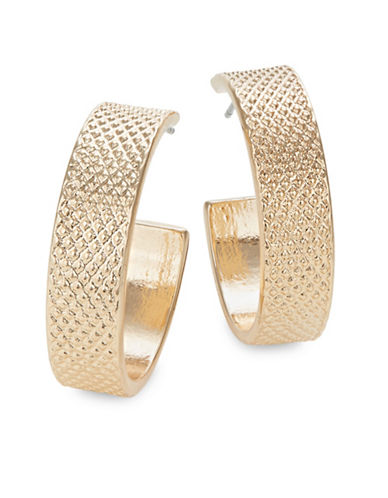 Jordyn G Quilted Textured Thick Hoop Earrings-GOLD-One Size