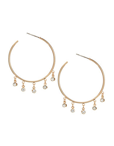 Jordyn G Rhinestone Dangle Hoop Earrings-GOLD-One Size