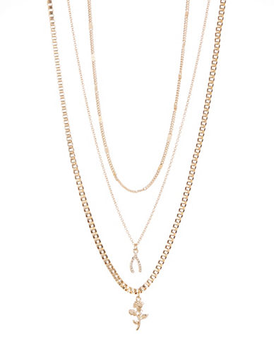 Jordyn G Three-Row Rose & Wishbone Pendant Necklace-GOLD-One Size