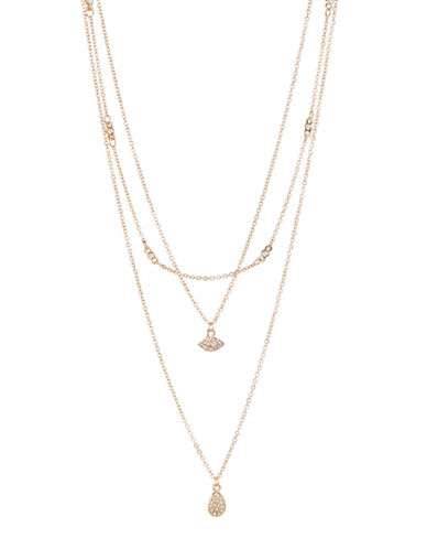 Jordyn G Evil Eye Multi-Layer Chain Necklace-GOLD-One Size