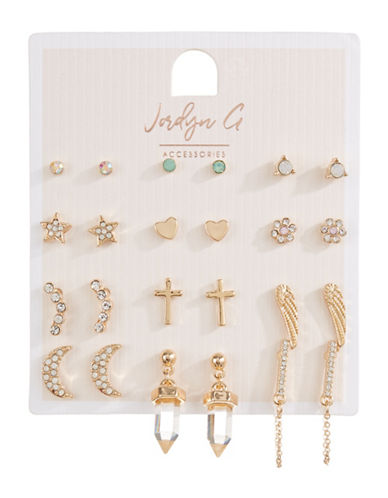 Jordyn G 12-Pack Goldtone Rhinestone Moon Cross Heart Stud Earrings-GOLD-One Size