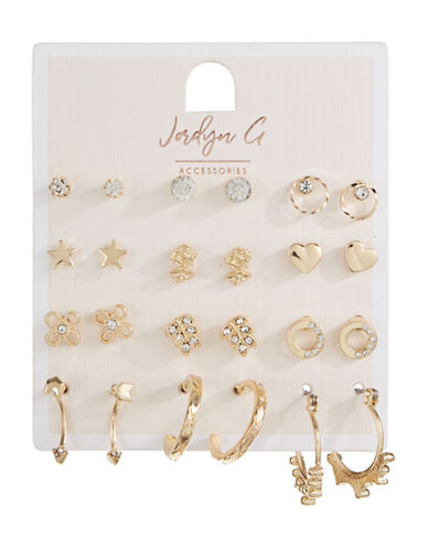 Jordyn G 12-Pack Goldtone Rhinestone Stud Earrings-GOLD-One Size