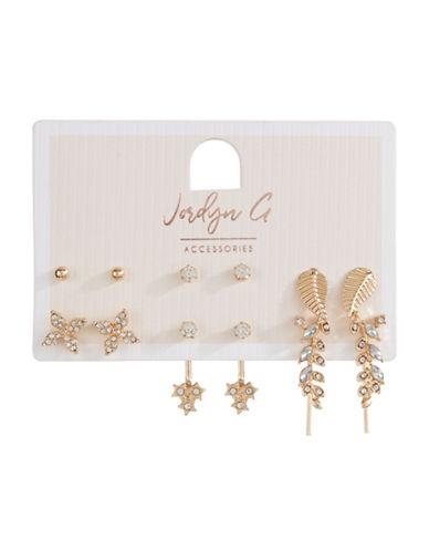 Jordyn G 6-Pack Goldtone Rhinestone Leaf Stud Earrings-GOLD-One Size