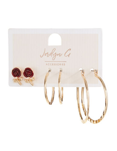 Jordyn G 3-Pack Goldtone Rose & Hoop Earrings Set-RED-One Size