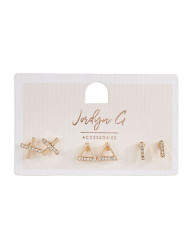 Jordyn G 3-Pack Goldtone Rhinestone Cross Triangle Stud Earrings-GOLD-One Size
