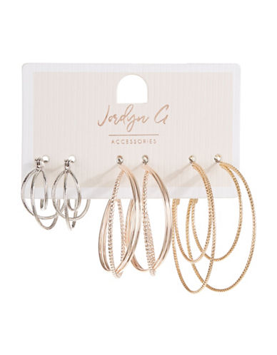 Jordyn G 3-Pack Multi-Tone Textured Hoop earrings-ASSORTED-One Size